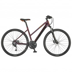 Vélo VTC femme 28p alu - SCOTT 2021 Sub Cross 40 Lady - Rouge bordeaux décor rouge