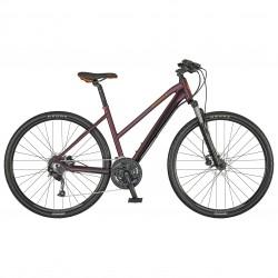 Vélo VTC alu dames 28p SCOTT 2021 Sub Cross 40 Lady bordeau décor rouge