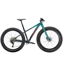 Vélo VTT fat bike 27.5x4.50 alu TREK 2021 Farley 5 dégradé de bleu turquoise décor rouge