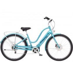 Vélo électrique ville et chemin 27.5p ELECTRA 2021 Townie Path Go! 5i Step-Thru 500 bleu ciel métallisé décor noir