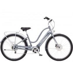 Vélo électrique ville et chemin 27.5p ELECTRA 2021 Townie Path Go! 5i Step-Thru 500 gris argent décor blanc