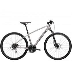 Vélo VTC alu homme 28p TREK 2021 Dual Sport 2 gris argent décor blanc