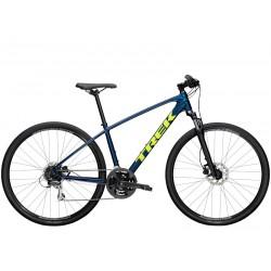 Vélo VTC alu homme 28p TREK 2021 Dual Sport 2 bleu mulsanne décor jaune