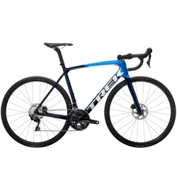 Vélo course carbon TREK 2021 Emonda SL 5 Disc bleu et bleu nuit décor blanc