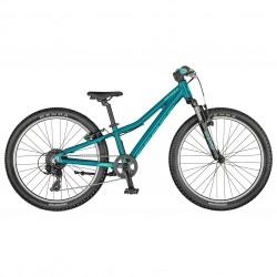 Vélo enfant 9 à 12 ans, fille, alu SCOTT 2021 VTT Contessa 24 bleu vert décor bleu turquoise