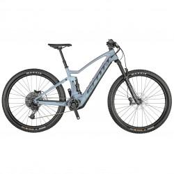 Vélo électrique VTT 29p SCOTT 2021 alu Strike eRide 900 625 bleu argenté reflet violet décor noir