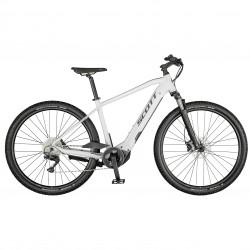 Vélo électrique VTC 29p alu - SCOTT 2021 Sub Cross eRide 10 Men 625 - Blanc Décor noir