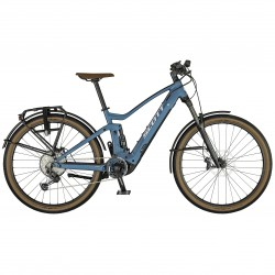 Vélo électrique VTC 29p alu - SCOTT 2021 Axis eRIDE Evo 625 - Bleu gris Décor blanc