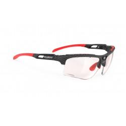 Lunettes route et vtt - RUDY PROJECT Keyblade Carbonium - noir carbone décor rouge : verre ImpactX 2 Red photochromique