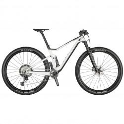 Vélo VTT 29p carbone - SCOTT 2021 Spark RC 900 Pro - Blanc Décor noir et gris anthracite : 110-100mm