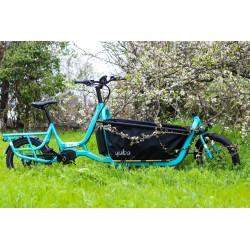 Vélo cargo électrique 20p alu - YUBA 2021 Supercargo 500 - Bleu turquoise décor blanc