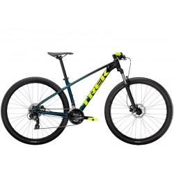 Vélo VTT 27.5p alu - TREK 2021 Marlin 5 - Dégradé bleu canard noir Dark aquatic Décor jaune fluo : 100mm