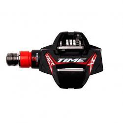Pédales TIME carbon vtt gravel Atac XC12 Titane noire décor rouge