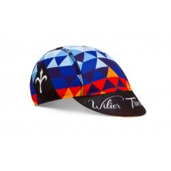 Casquette - WILIER Pop Caleidos - noir décor rouge et bleu - confortable et très respirante - idéale sous le casque - ppc