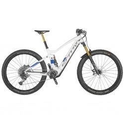 Vélo électrique VTT 29p carbon/alu - SCOTT 2021 Genius eRide 900 Tuned 625 - Blanc décor gris et bleu : 160/150mm