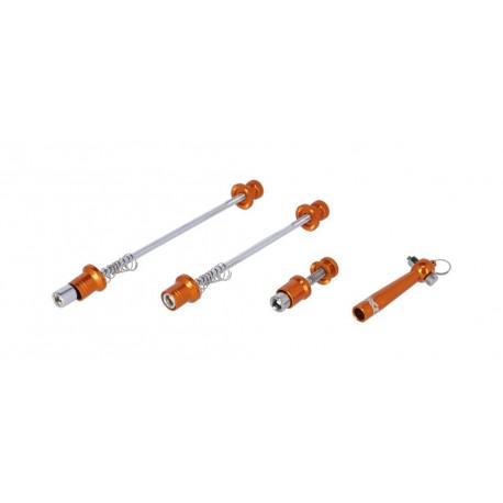 Blocages de roue et tige de selle XLC acier crmo Antivol Orange
