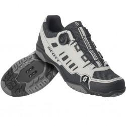 Chaussures vtt - SCOTT Crus-R Boa Lady Reflective - gris argent réfléchissant décor noir - semelle pour pédales plates