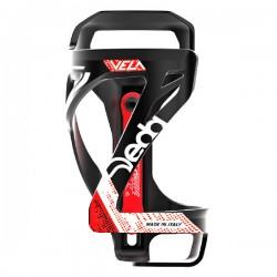 Porte-bidon DEDA polymère route vtt Vela 2 Team latéral noir mat décor rouge et blanc