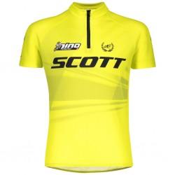 Maillot manches courtes enfant - SCOTT Junior RC Pro Nino - jaune fluo : ouverture demi-zip - 2 poches - ppc 49.90 €ttc -