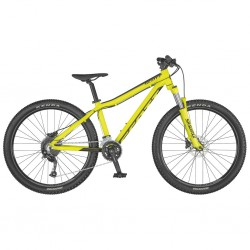 Vélo VTT garçon 10 à 13 ans 26p alu - SCOTT 2021 Scale 26 Disc - jaune néon décor noir : 100mm
