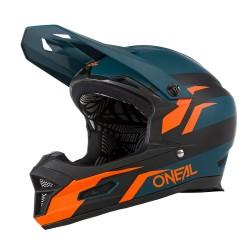 Casque intégral bmx et vtt - ONEAL Fury Stage - Bleu pétrole décor orange