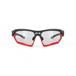 Lunettes route et vtt - RUDY PROJECT Fotonyk - noir mat décor rouge : verre ImpactX 2 Black photochromique clair et ventilé