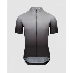 Maillot manches courtes - ASSOS Mille GT Shifter - gris décor noir : tissu léger et respirant - ouverture zip intégral -