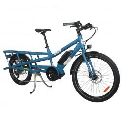 Vélo ville cargo électrique 26p. alu - Yuba 2021 Spicy Curry V3 City - Bleu décor blanc