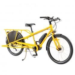 Vélo ville cargo électrique 26p acier - Yuba 2021 El Mundo - Jaune décor blanc