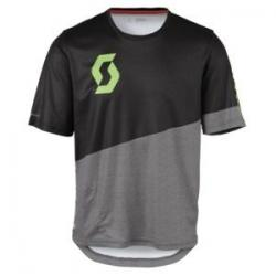 Maillot manches courtes SCOTT vtt Progressive Pro noir décor gris et vert