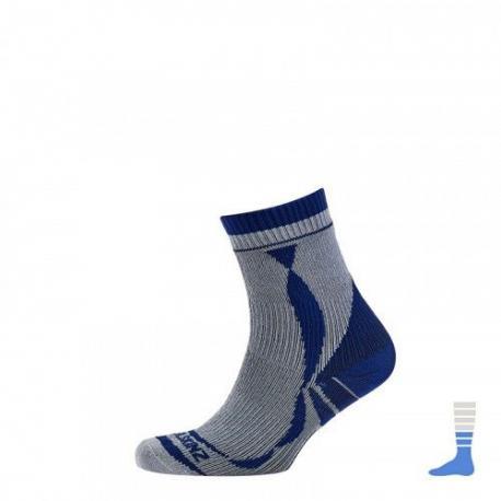 Chaussettes SEALSKINZ imperméables Thin Ankle Lenght gris décor bleu