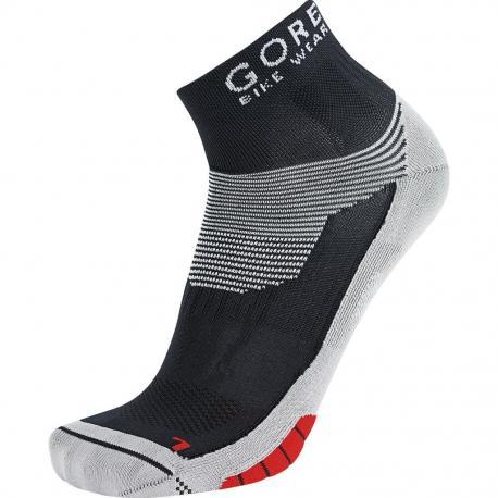 Socquettes GORE BIKE Xenon noir décor gris et rouge