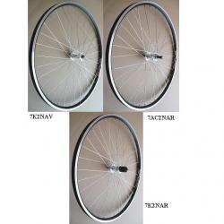 Roue à pneu arrière 700 CLASSIQUE vtc moyeu Shimano RM30 8/9v 135mm argent