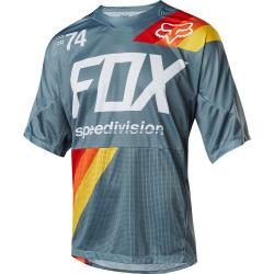 Maillot manches courtes FOX Démo Drafter gris clair décor rouge et bleu