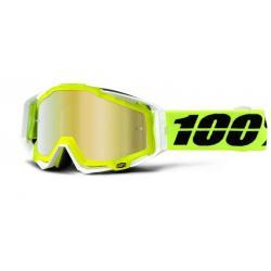 Masque 100% vtt Racecraft Solar jaune fluo décor blanc