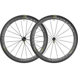 Roues à pneu 700 MAVIC 2016 route Cosmic Carbon 40 Elite Chrome 23 WTS noire carbon décor chrome