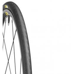 Pneu MAVIC route Yksion Elite Guard 25 noir flancs noirs décor blanc jaune
