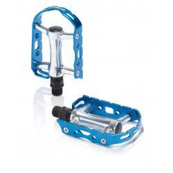 Pédales XLC alu route vtc vtt Ultralight PD-M15 argent contour bleu
