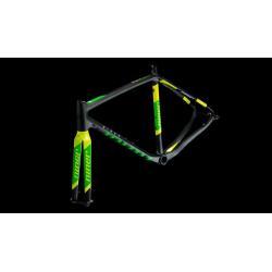 Cadre fourche cyclocross carbon 700 NINER 2016 BSB 9 RDO Disc noir décor vert fluo