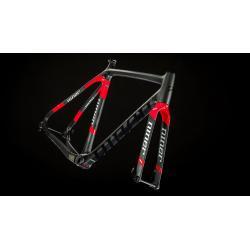 Cadre fourche cyclocross carbon 700 NINER 2016 BSB 9 RDO Disc noir décor rouge et blanc