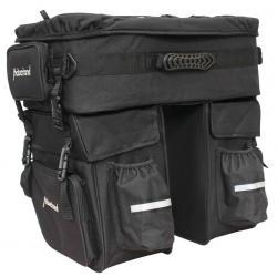 Sacoche HABERLAND arrière double cavalière Touring noir sur porte-bagage