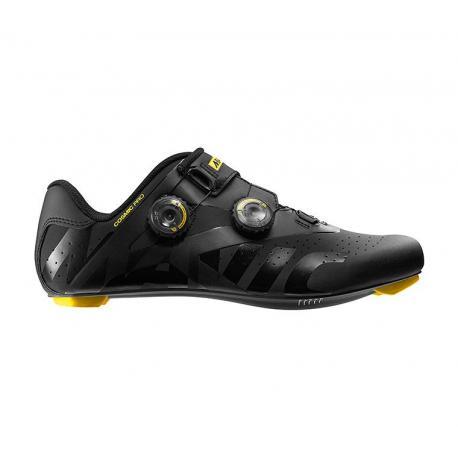 Chaussures MAVIC route Cosmic Pro noir mat décor jaune