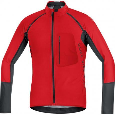 Maillot coupe-vent GORE BIKE Alp-X Pro Windstopper Soft Shell rouge décor noir
