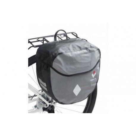 Sacoche HAPO-G arrière latérale Rigide WaterProof 17 étanche noir et argent sur porte-bagage