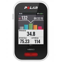 Compteur GPS vélo POLAR V650 HR Strava - Noir/décor blanc