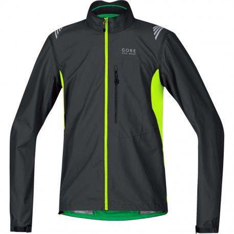 Veste coupe-vent GORE BIKE E Windstopper ActiveShell noir décor jaune fluo