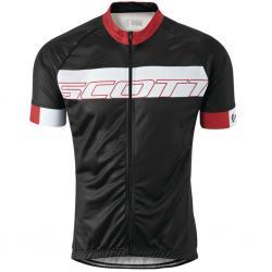 Maillot manches courtes SCOTT Endurance Plus noir décor blanc et rouge