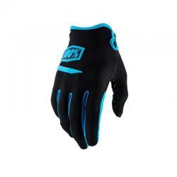 Gants longs 100% vtt Ridecamp noir décor bleu turquoise