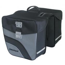 Sacoche HABERLAND arrière double cavalière Touring 6000 rigide noir et argent sur porte-bagage