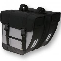 Sacoches BASIL arrière double cavalière Tour XL 20 noir décor argent